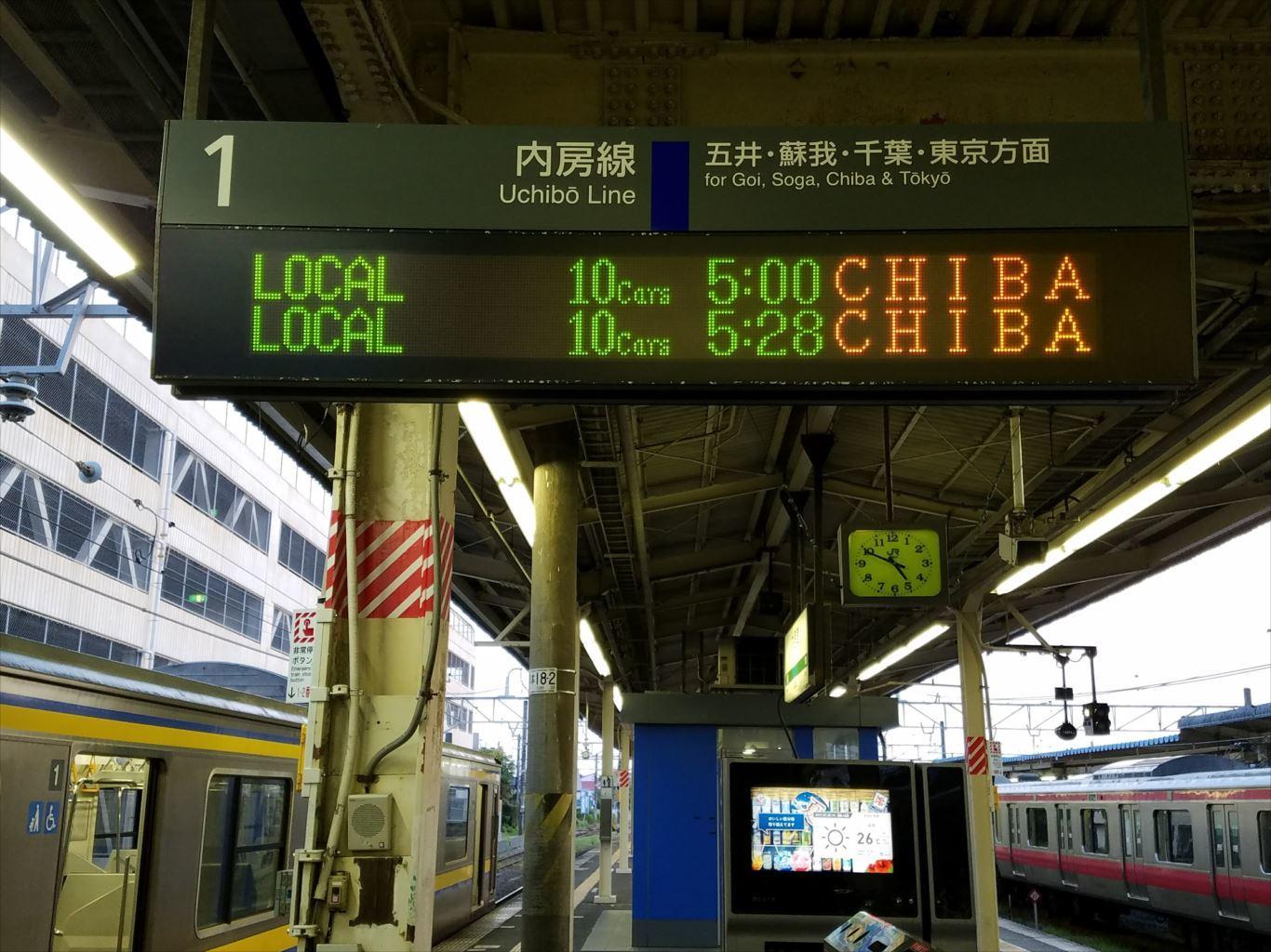 木更津駅一番列車