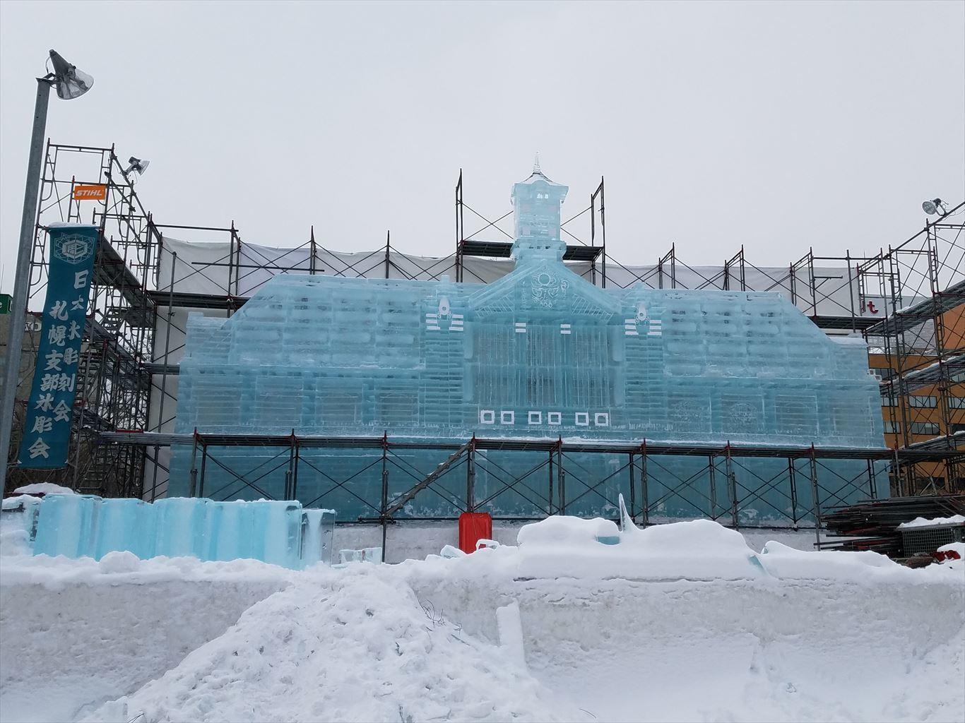 さっぽろ雪まつり雪像建設中201801_2